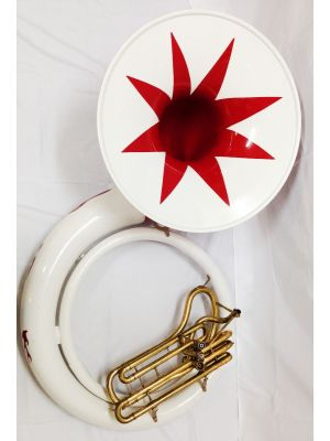 WHITE WITH RED KING SOUSAPHONE / KING TUBA BLANCA CON ROJO